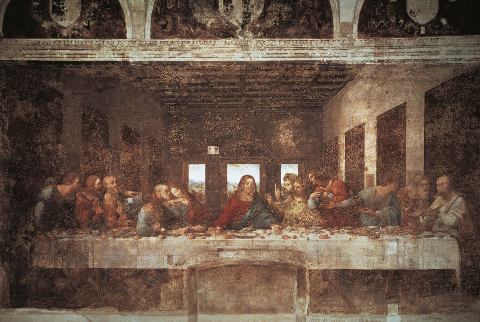 Last Supper, 1494-1498, by Leonardo da Vinci (1452-1519), tempera on plaster, 460x880 cm, Santa Maria delle Grazie, refectory, Milan, Italy