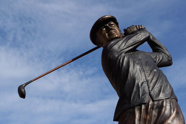 A statue of Ben Hogan near the clubhouse at Colonial Country Club, a club sometimes called Hogan's Alley