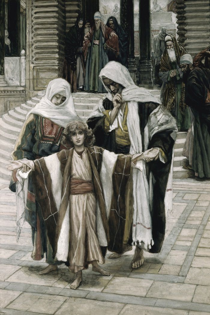 Jesus Christ as a boy in temple with Mary and Joseph