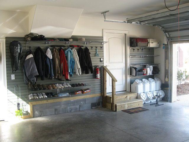 Slatwall Garage Shoe Storage