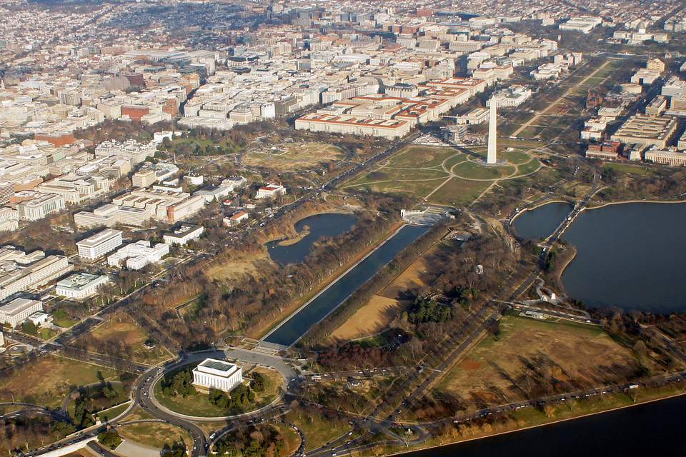 Aerial view National Mall , Washington, D.C. From bottom right to top left, Lincoln Memorial, Reflecting Pool, World War II Memorial, Washington Monument and U.S. Capitol
