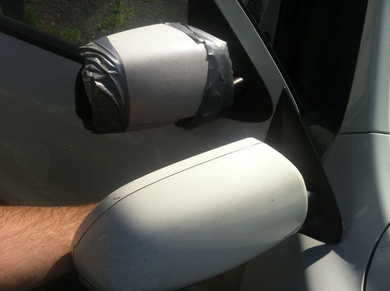 Broken rear view mirror