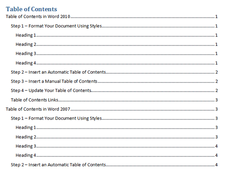 Insert Table of Contents Using Outline Levels in Word 2010