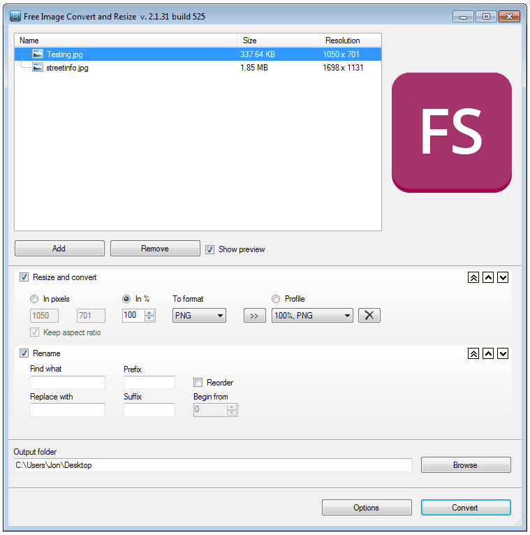 Screenshot of the Free Image Convert and Resize program