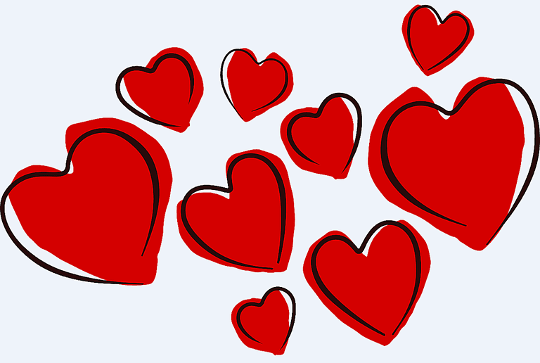 valentines clip art a collection of red heart sketches