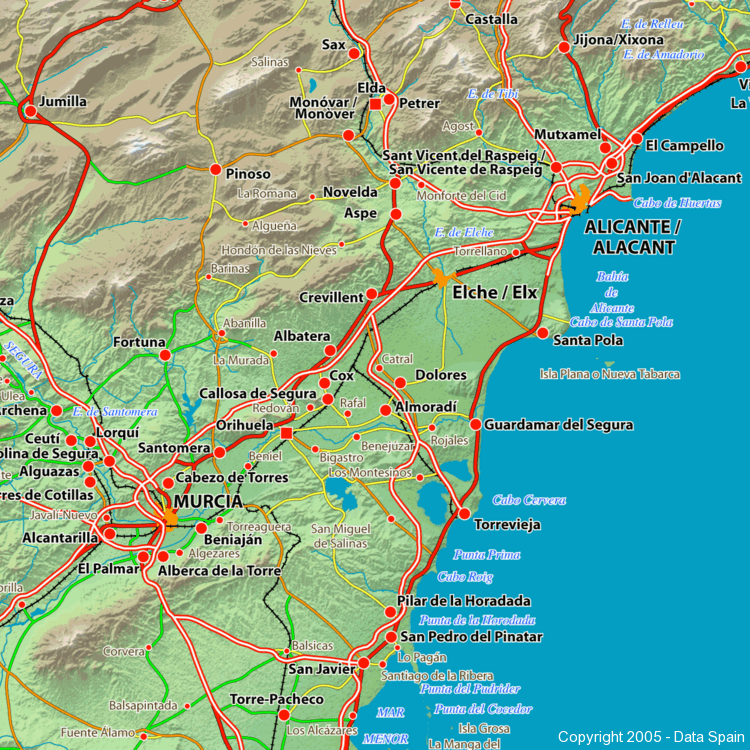 Large Map of Spains Cities and Regions