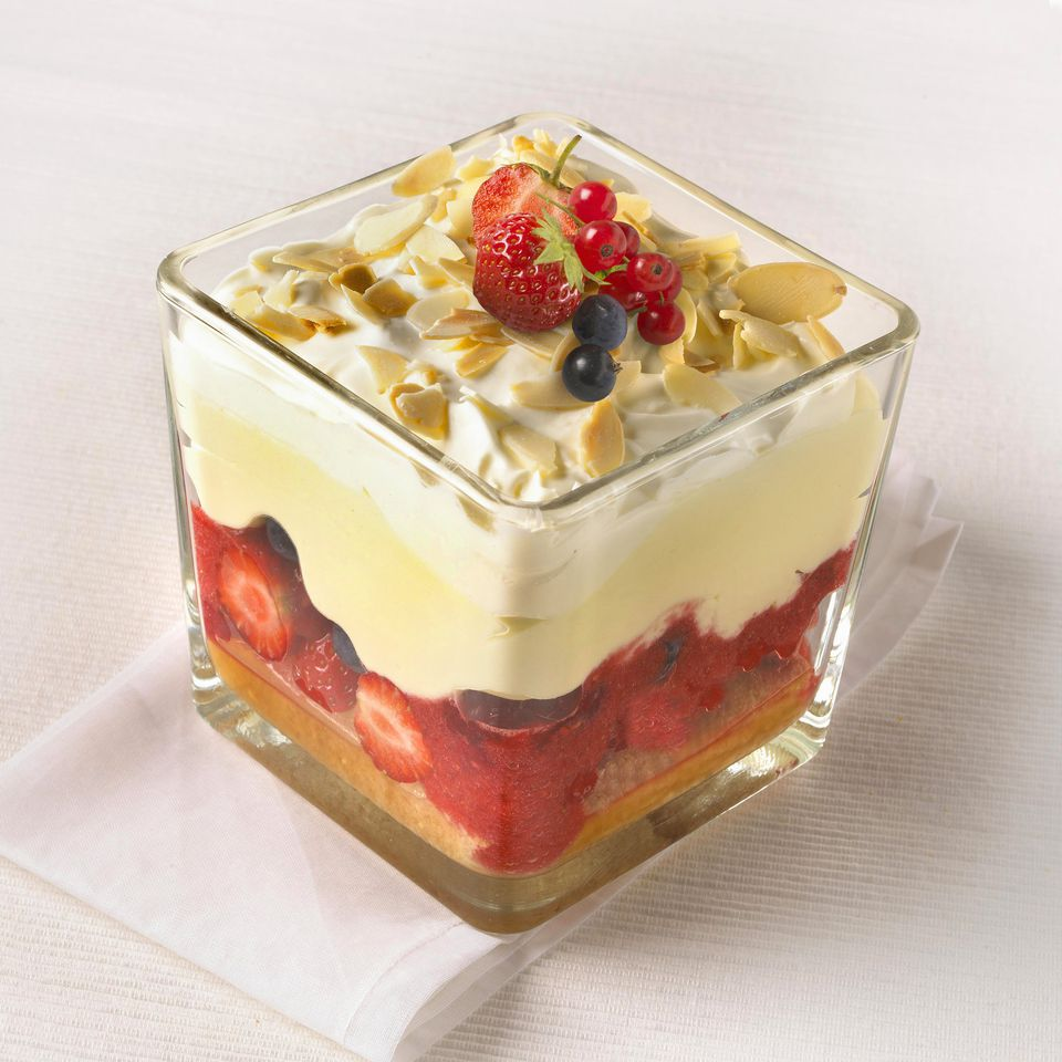 Home-made fresh fruit trifle