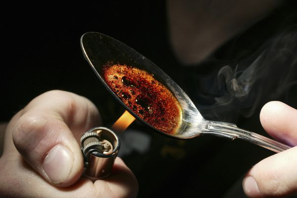 heroin in a spoon