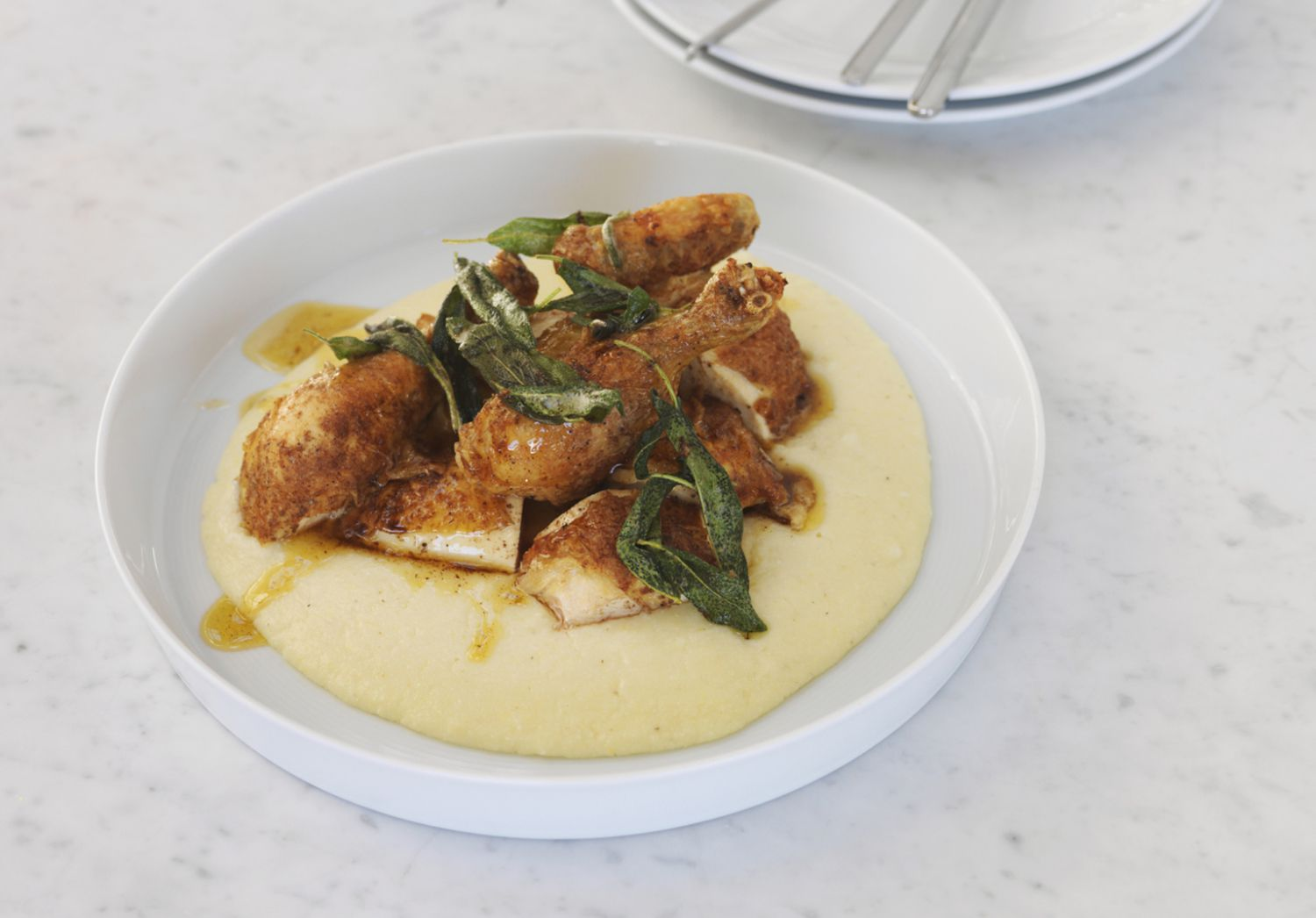 Chicken Strips with Grits and Green Onions Recipe