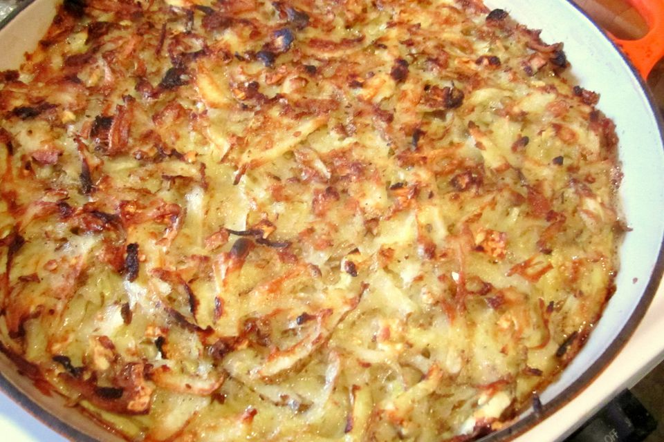A plate of potato kugel