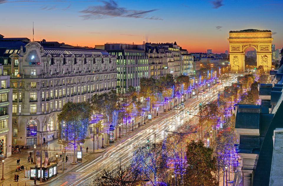 Arc de Triomphe and Champs Elysees illuminated for Christmas