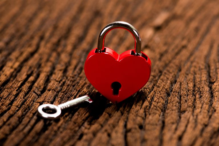 heart-shaped padlock and key