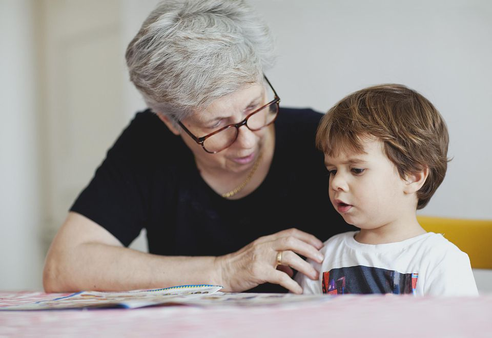 Flemish grandmother and grandson