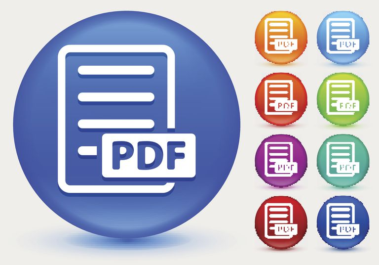 PDF Icon on Shiny Color Circle Buttons