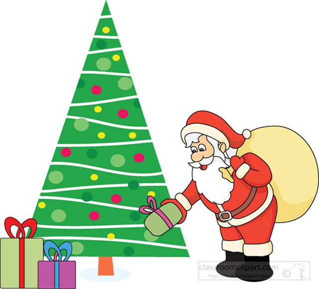Santa putting gifts under a Christmas tree.