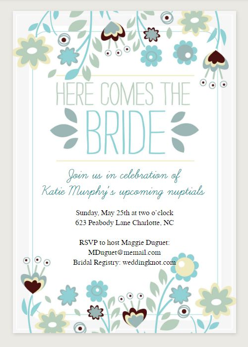 Here Comes The Bride Printable Bridal Shower Invitation From Greetings Island