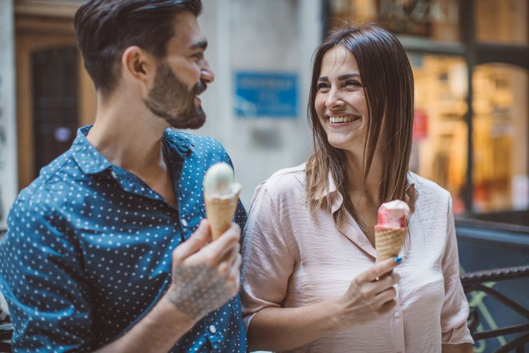 Couple eating ice cream.