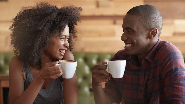 Couple enjoying coffee.