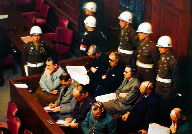 Picture of defendants at the Nuremberg Trial in 1945.