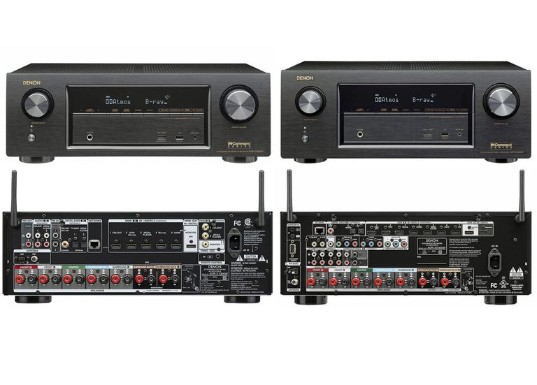 Denon AVR-X1300W and AVR-X2300W Home Theater Receivers - Front and Rear Views
