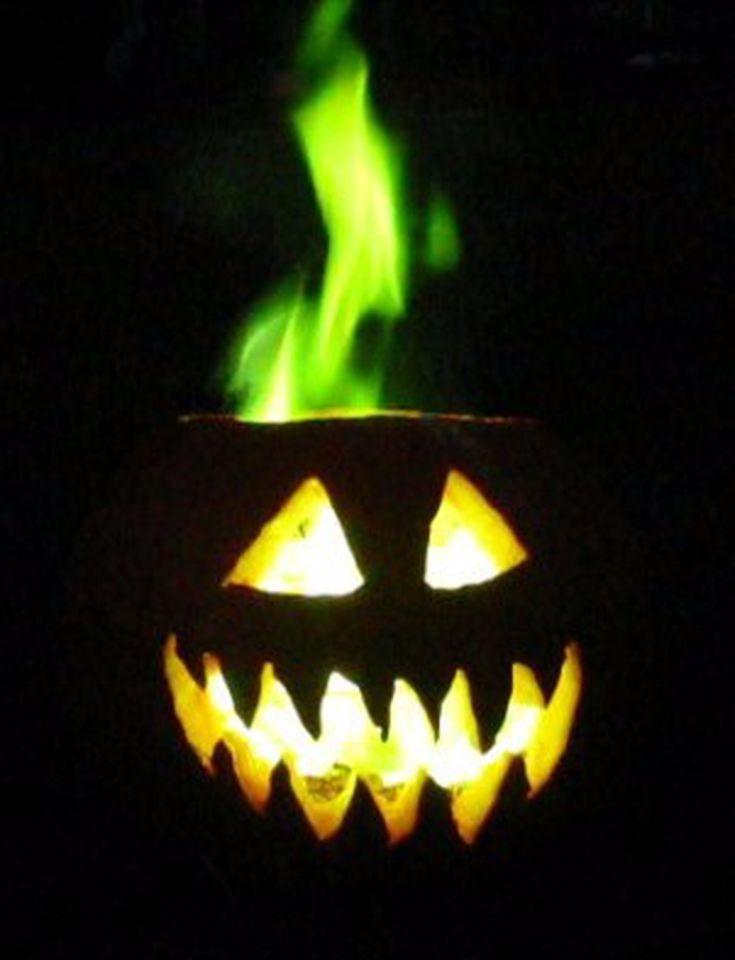 How to Make a Green Fire Halloween Jack-o-Lantern