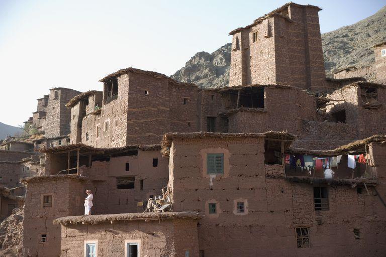 Traditional Berber Village (Ksar) in High Atlas Mountains