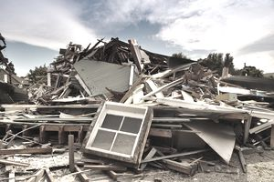 Earthquake insurance a devastated home after earthquake