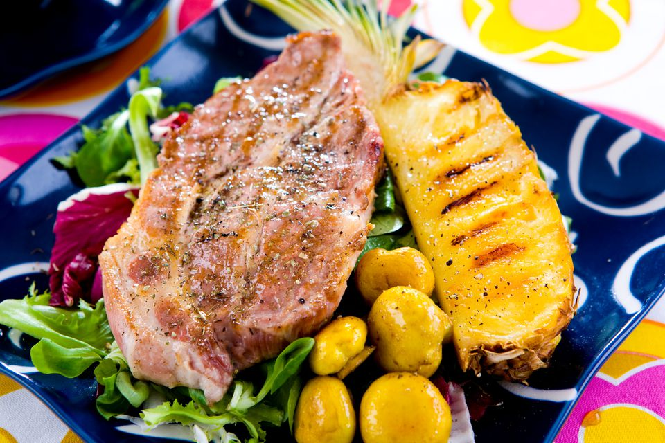 Grilled Ham Steak with Pineapple