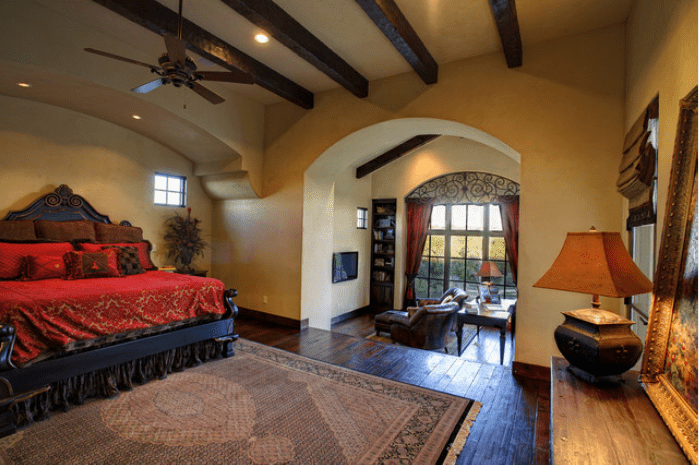 Mediterranean style bedroom designed by Vanguard Studio, Inc.. Photo  Courtesy of Vanguard Studio, Inc.