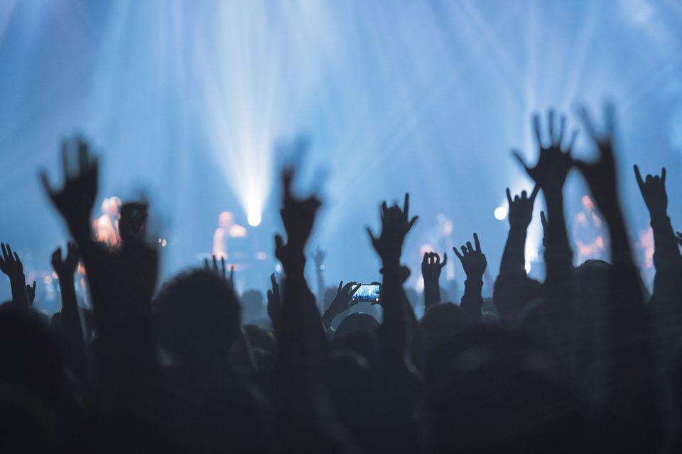 Silhouette People Raising Hands