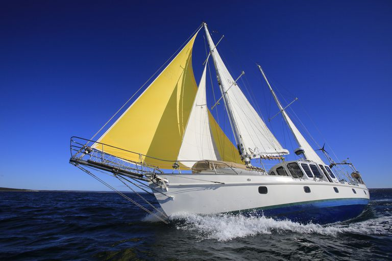 Yacht sailing in the Southern Ocean. Australia.