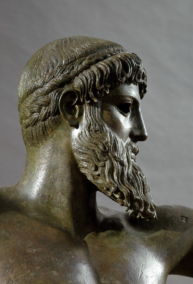 Detail of bronze sculpture of Poseidon or Zeus by Kalamis