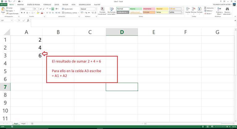 Primera fórmula en Excel