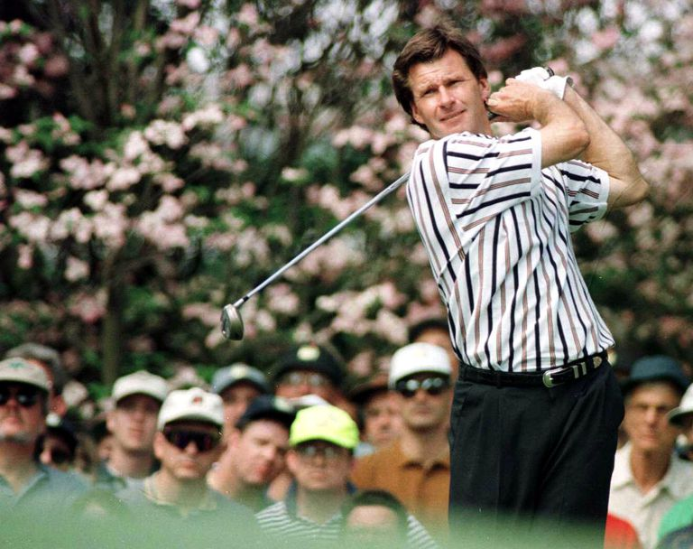 Nick Faldo during the 1996 Masters, site of his final major championship victory.