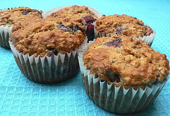 Low Fat Cherry-Oatmeal Muffins
