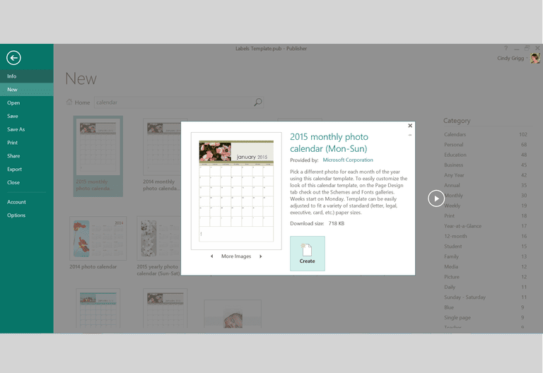 monthly photo calendar template or printable for microsoft publisher