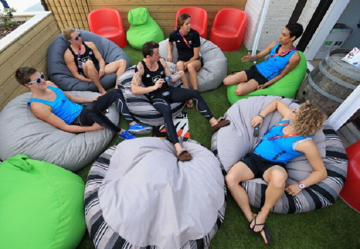 london games olympic village balcony relax athletes new zealand