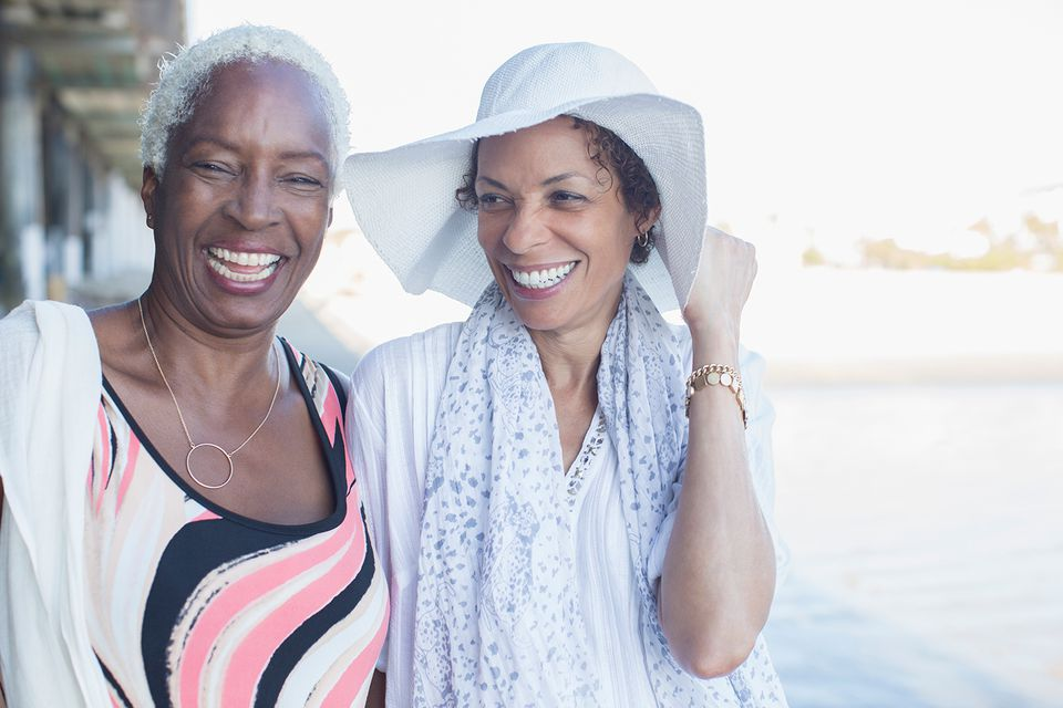 Portrait of smiling women at beach
