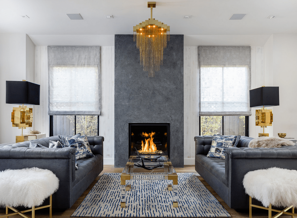 glam living room with fireplace - Decorating Ideas For Living Rooms With Fireplaces