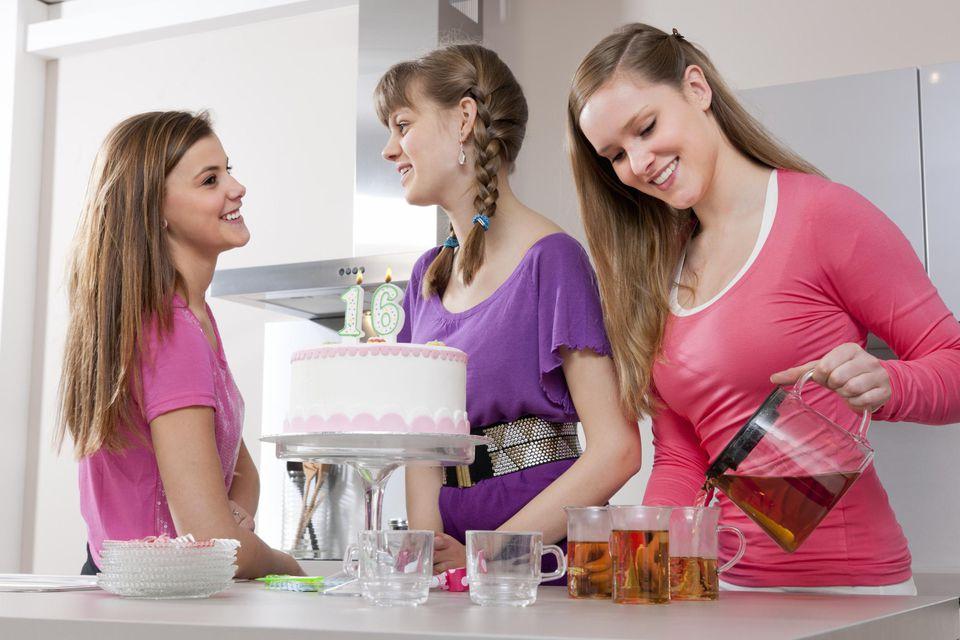 Teenage girls celebrating birthday