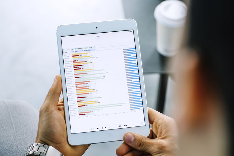 Man looking at investments on iPad