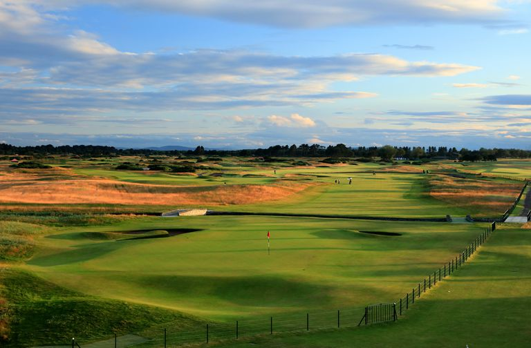 A view of Carnoustie Golf Links from behind the 18th hole.