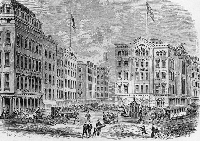 Lithograph of Newspaper Row in New York City in the 1800s