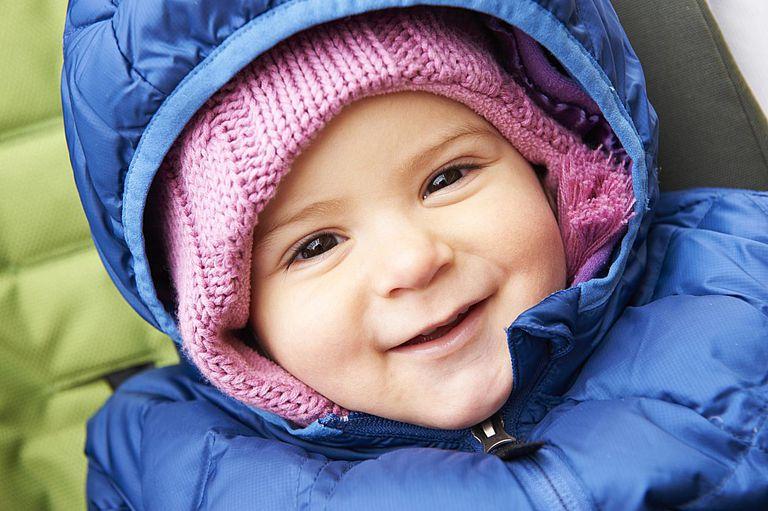 Baby in thick winter coat.
