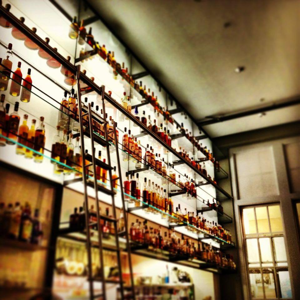 Bottles of alcohol at a bar