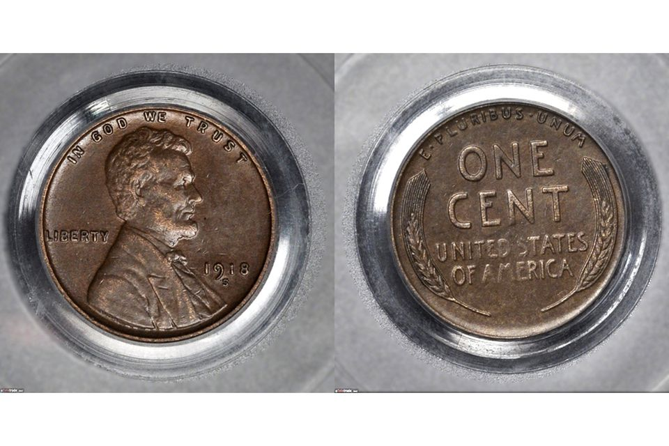 1918-S Lincoln Cent Graded AU-50
