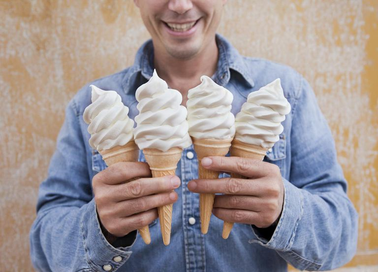 Man holding four ice cream cones : Stock Photo View similar imagesMore from this photographerDownload comp Man holding four ice cream cones