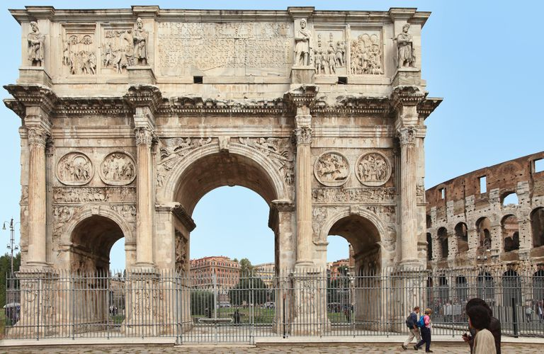 Triumphal Arch of Constantine next to the Roman colosseum in Rome