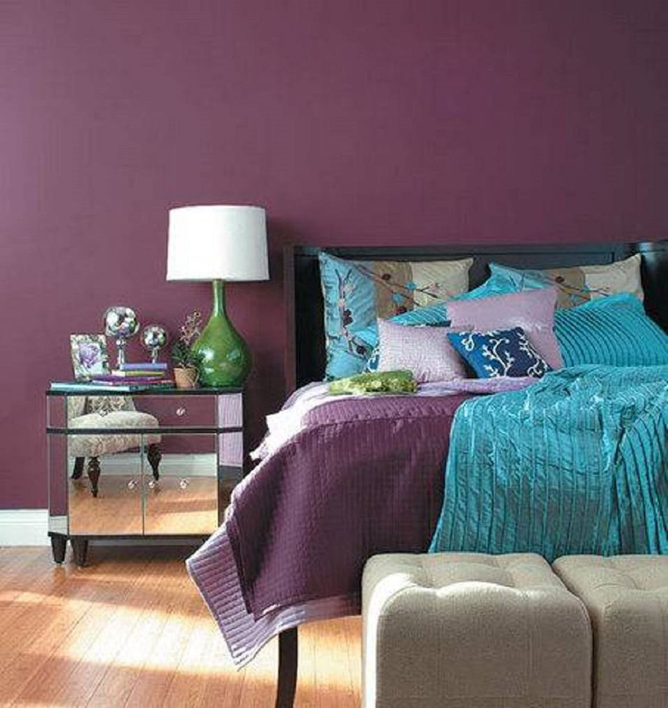 purple walls in a sophisticated bedroom - Bedroom Decorating Ideas Blue And Green