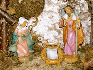 Detail of a Fontanini Nativity scene during Advent. (Photo © Amy J. Richert)